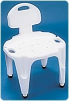 Adj. Bath & Shower Seat With Back, Exact Level, Ea