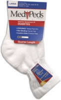Medipeds Diabetic Quater Sock,large,white,3pr/pkg