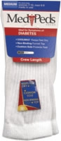 Medipeds Diabetic Crew Sock, Medium, White