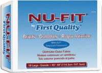 "First Quality Nu-fit Adult Brief, Lrg 45""-58"" (Bag of 18)"