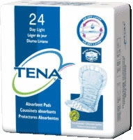 Tena Day Light Pad, With Gathers, White (Bag of 24)