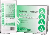 Sterile Vinyl Exam Gloves, Medium, Powdered