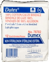 "Dutex 100% Cotton 3"" X 4.5 Yds, 2 Ply,non-strl,12"