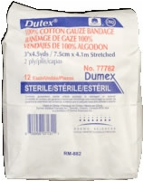 "Dutex 100% Cotton, 3"" X 4.5 Yds, 2 Ply, Sterile,12"