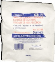 "Dutex 100% Cotton, 4"" X 4.1 Yds, 2 Ply, Sterile,12"