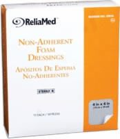 Reliamed 4x4 Foam Dressing W/film Backing,10/box