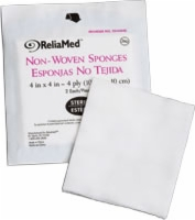 "Reliamed Non-woven Drsng/spng,4""x4"",4 Ply, 25-2's"