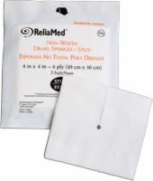 "Reliamed Trach/drn Spng, 4"" X 4"", 6 Ply, 25-2's"