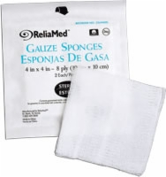 "Reliamed Gauze/drsng Spng, 4"" X 4"", 8 Ply, Strl,50"