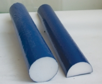 Cando Foam Roller - Blue Tufcoat Open Cell Foam - Washable Coat - Extra Firm - 4 X 36 Inch - Half-Round