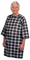 Thermagown Patient Gown Blue/Green Plaid