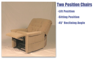 A 2 position lift and recline chair in action.