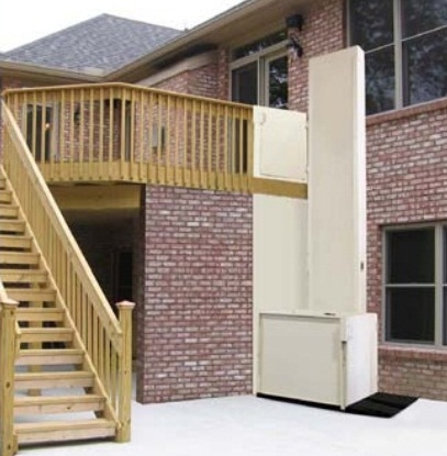 Tall outdoor platform lift for second story porch