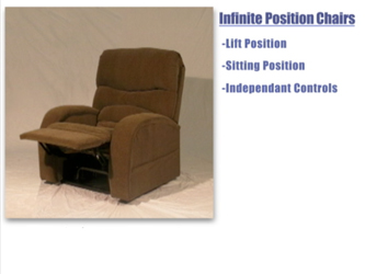 The footrest of an infinite position lift assist chair can be moved without reclining the back rest.