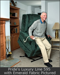 A disabled man uses a lift chair to stand without assistance.