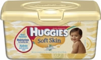 Huggies Soft Skin Wipes w/ Shea Butter, Pop-Up Lid (Tub of 64)