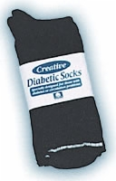 Diabetic Sock Men's, Black, Size 10-13, 6/pair