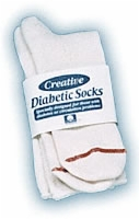 Diabetic Sock Men's White Size 10-13