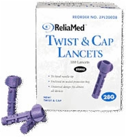 28g Twist And Cap Lancets, Purple
