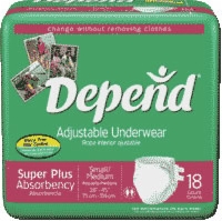 Depend Refastenable Protective Underwear,s/m (Bag of 18)