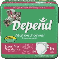 Depend Adjustable Underwear,lg/xlg,super Absorb (Bag of 16)