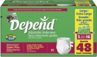 Depend Adjustable Underwear, Large (Bag of 16)