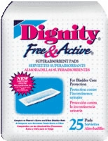 "Free & Active Super Absorbent Pads, 3"" X 12"" (Bag of 25)"