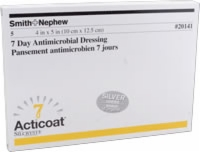"Acticoat 7 Day Wound Dressing, 4"" X 5"", 5/box"
