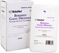 "Reliamed Bordered Gauze, 2"" X 3 1/2"",latex-free,st"