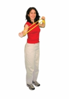 Cando Low Powder Exercise Band - Dispener Box Of 40 - 4-Foot Ready-To-Use - Yellow - X-Light