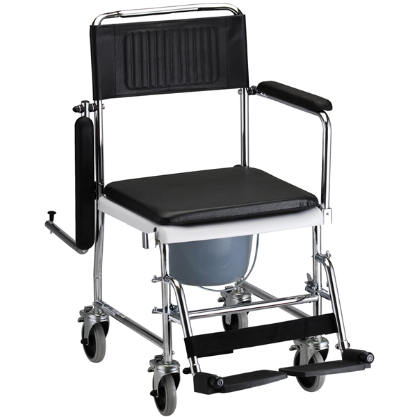 Nova Ortho-Med Drop Arm Commode Transport Chair with Wheels ...