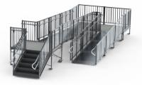 "36' Turn Back Commercial Modular Ramp System with 5' x 7' Landing & 36"" ADA/IBC Step System (7' Out From Door)"