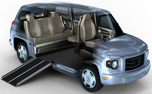 The MV-1 is a wheelchair-accessible automobile that requires no aftermarket conversion to accommodate disabled passengers.